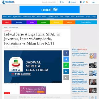 Jadwal Serie A Liga Italia, SPAL vs Juventus, Inter vs Sampdoria, Fiorentina vs Milan Live RCTI - Tribun Batam