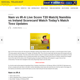 Nam vs IR-A Live Score T20 Match- Namibia vs Ireland Scorecard Watch Today's Match Toss Updates