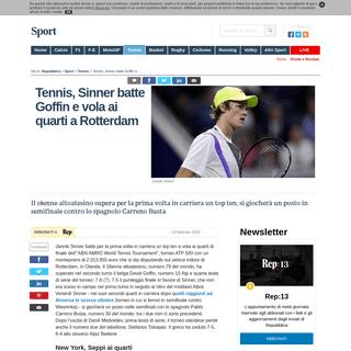 ArchiveBay.com - www.repubblica.it/sport/tennis/2020/02/13/news/sinner_ai_quarti_a_rotterdam-248495564/ - Tennis, Sinner batte Goffin e vola ai quarti a Rotterdam - la Repubblica