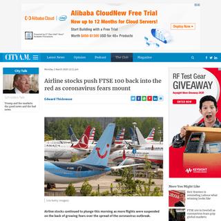 Airline stocks push FTSE 100 back into the red as coronavirus fears mount - CityAM