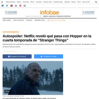 """Autospoiler- Netflix reveló qué pasa con Hopper en la cuarta temporada de """"Stranger Things"""" - Infobae"""