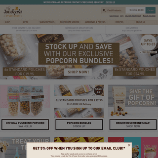 Gourmet popcorn pouches and gifts - Joe & Seph's