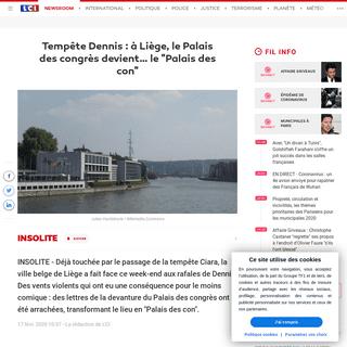 Tempête Dennis - à Liège, le Palais des congrès devient… le -Palais des con- - LCI