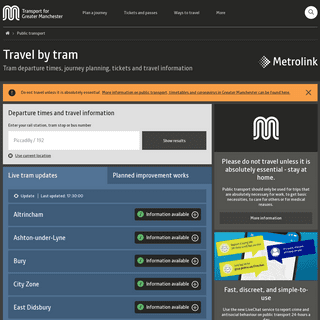 Travel by tram - Transport for Greater Manchester