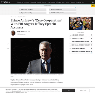 Prince Andrew's 'Zero Cooperation' With FBI Angers Jeffrey Epstein Accusers
