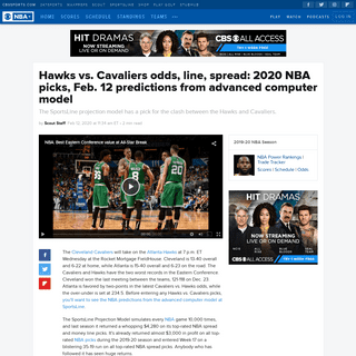 ArchiveBay.com - www.cbssports.com/nba/news/hawks-vs-cavaliers-odds-line-spread-2020-nba-picks-feb-12-predictions-from-advanced-computer-model/ - Hawks vs. Cavaliers odds, line, spread- 2020 NBA picks, Feb. 12 predictions from advanced computer model - CBSSports.com