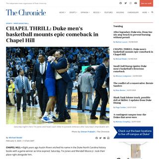 CHAPEL THRILL- Duke men's basketball mounts epic comeback in Chapel Hill - The Chronicle