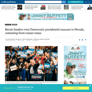 Nevada caucus- Bernie Sanders cements front-runner status with win - Chicago Tribune
