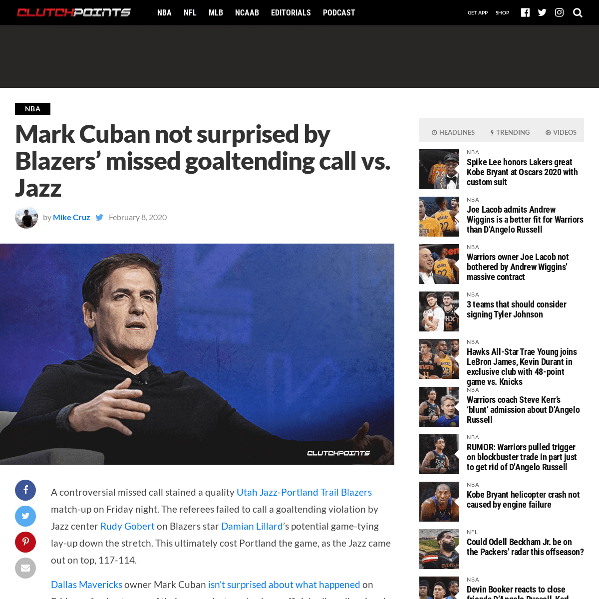 ArchiveBay.com - clutchpoints.com/blazers-news-mark-cuban-not-surprised-by-missed-goaltending-call-vs-jazz/ - Blazers news- Mark Cuban not surprised by missed goaltending vs. Jazz