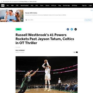Russell Westbrook's 41 Powers Rockets Past Jayson Tatum, Celtics in OT Thriller - Bleacher Report - Latest News, Videos and High