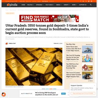 Uttar Pradesh- 3350 tonnes gold deposit found in Sonbhadra