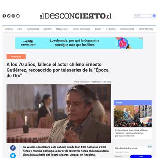 ArchiveBay.com - www.eldesconcierto.cl/2020/02/15/a-los-70-anos-fallece-el-actor-chileno-ernesto-gutierrez-reconocido-por-teleseries-de-la-epoca-de-oro/ - A los 70 años, fallece el actor chileno Ernesto Gutiérrez, reconocido por teleseries de la -Época de Oro- - El Desconcierto
