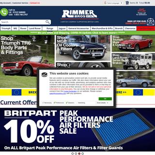 Rimmer Bros - Parts & Spares - Triumph, Land Rover, Range Rover, MG & More