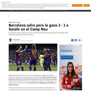 Barcelona sufre pero le gana 2 - 1 a Getafe en el Camp Nou - AS USA