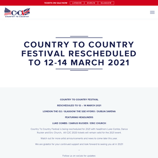 Country to Country Festival Rescheduled to… - C2C Country To Country