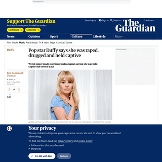 ArchiveBay.com - www.theguardian.com/music/2020/feb/25/pop-star-duffy-says-she-was-raped-drugged-and-held-captive - Pop star Duffy says she was raped, drugged and held captive - Music - The Guardian