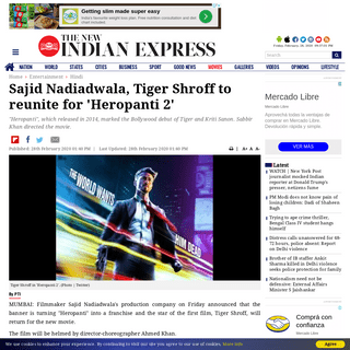 Sajid Nadiadwala, Tiger Shroff to reunite for 'Heropanti 2'- The New Indian Express