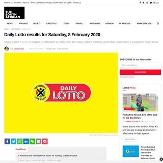 ArchiveBay.com - www.thesouthafrican.com/daily-lotto/daily-lotto-results-for-saturday-8-february-2020/ - Daily Lotto results for Saturday, 8 February 2020