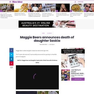 Maggie Beers announces death of daughter Saskia - New Idea Magazine