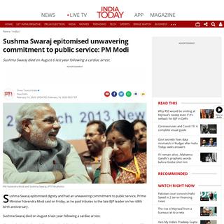 Sushma Swaraj epitomised unwavering commitment to public service- PM Modi - India News