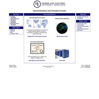 Hurricane Electric Internet Services - Internet Backbone and Colocation Provider