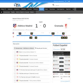 Atlético Madrid vs Granada - Sábado 8-Febrero-2020 5-00 PM - Fútbol - Colombia.com