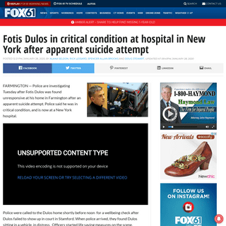 Fotis Dulos in critical condition at hospital in New York after apparent suicide attempt - FOX 61