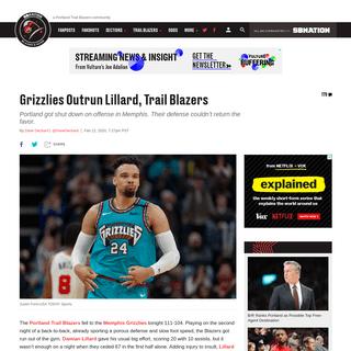Grizzlies Outrun Lillard, Trail Blazers - Blazer's Edge