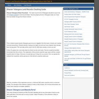 Dharani Telangana Pahani Land Records Portal Website Passbook