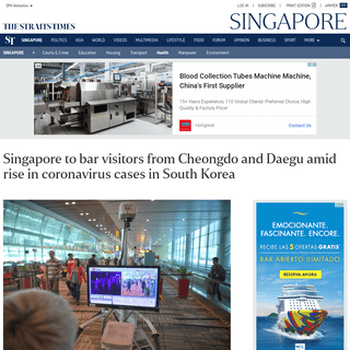 ArchiveBay.com - www.straitstimes.com/singapore/health/singapore-to-bar-visitors-from-cheongdo-and-daegu-amid-rise-in-coronavirus-cases-in - Singapore to bar visitors from Cheongdo and Daegu amid rise in coronavirus cases in South Korea, Health News & Top Stories - The