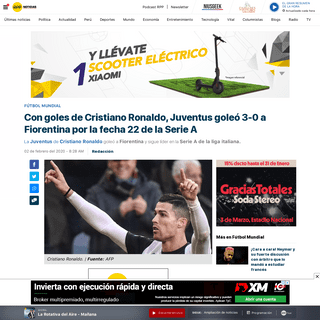 Con goles de Cristiano Ronaldo, Juventus goleó 3-0 a Fiorentina por la fecha 22 de la Serie A - RPP Noticias