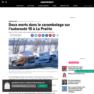 Deux morts dans le carambolage sur l'autoroute 15 à La Prairie - HuffPost Québec
