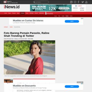 Foto Bareng Pemain Parasite, Raline Shah Trending di Twitter - iNews Portal