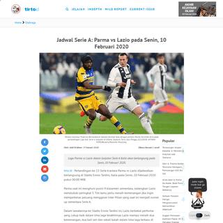 Jadwal Serie A- Parma vs Lazio pada Senin, 10 Februari 2020 - Tirto.ID