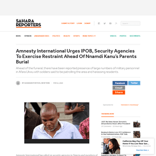 Amnesty International Urges IPOB, Security Agencies To Exercise Restraint Ahead Of Nnamdi Kanu's Parents Burial - Sahara Repor