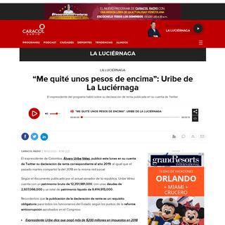 """ArchiveBay.com - caracol.com.co/programa/2020/02/19/la_luciernaga/1582069239_977246.html - Declaración de renta Álvaro Uribe Vélez- """"Me quité unos pesos de encima""""- Uribe de La Luciérnaga - La Luciérnaga - Car"""