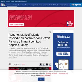ArchiveBay.com - ar.nba.com/news/markieff-morris-rescindio-contrato-detroit-pistons-los-angeles-lakers--favorito-ficharlo/1jym8q02f7pfv1lgq7ggooxaki - Reporte- Markieff Morris rescindió su contrato con Detroit Pistons y firmará con Los Angeles Lakers - NBA.com Argentina - El s