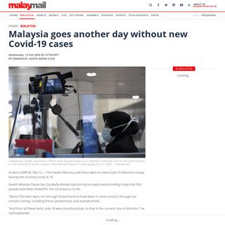 ArchiveBay.com - www.malaymail.com/news/malaysia/2020/02/12/malaysia-goes-another-day-without-new-covid-19-cases/1836916 - Malaysia goes another day without new Covid-19 cases - Malaysia - Malay Mail