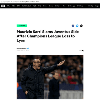 Maurizio Sarri Slams Juventus Side After Champions League Loss to Lyon - Bleacher Report - Latest News, Videos and Highlights