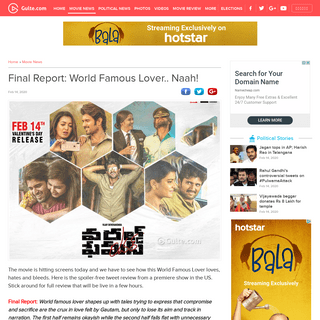 Final Report- World Famous Lover.. Naah!