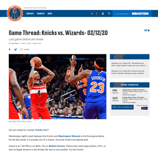 Game Thread- Knicks vs. Wizards- 02-12-20 - Posting and Toasting