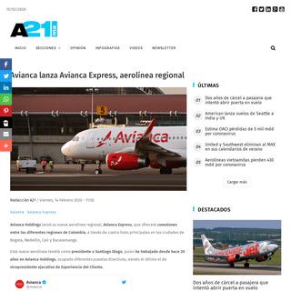 ArchiveBay.com - a21.com.mx/aerolineas/2020/02/14/avianca-lanza-avianca-express-aerolinea-regional - Avianca lanza Avianca Express, aerolínea regional - Aviación 21