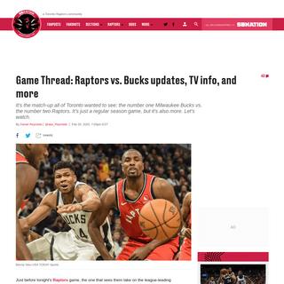 ArchiveBay.com - www.raptorshq.com/2020/2/25/21153509/game-thread-toronto-raptors-vs-milwaukee-bucks-updates-tv-info-and-more - Game Thread- Toronto Raptors vs. Milwaukee Bucks updates, TV info, and more - Raptors HQ