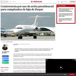 Controversia por uso de avión presidencial para cumpleaños de hija de Duque - El Heraldo
