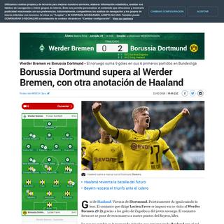 ArchiveBay.com - www.marca.com/claro-mx/futbol-internacional/bundesliga/cronica/2020/02/22/5e515b2946163f0d808b4584.html - Werder Bremen vs Borussia Dortmund Borussia Dortmund supera al Werder Bremen, con otra anotación de Haaland - Bundesliga-