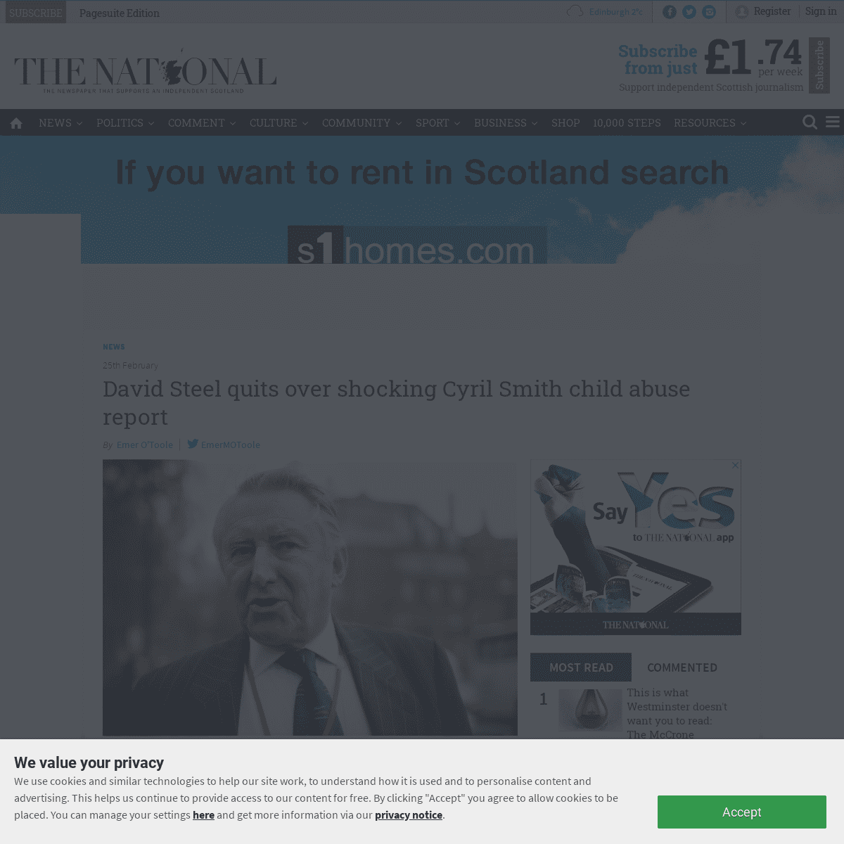 David Steel quits over shocking Cyril Smith child abuse report - The National