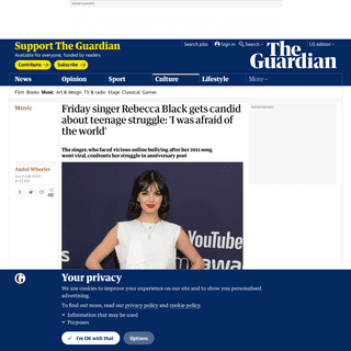 ArchiveBay.com - www.theguardian.com/music/2020/feb/11/rebecca-black-friday-video-nine-years-post - Friday singer Rebecca Black gets candid about teenage struggle- 'I was afraid of the world' - Music - The Guardian