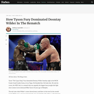 ArchiveBay.com - www.forbes.com/sites/anthonystitt/2020/02/23/the-king-has-spoken---tyson-fury-dominates-deontay-wilder-in-rematch/ - How Tyson Fury Dominated Deontay Wilder In The Rematch