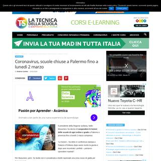 Coronavirus, scuole chiuse a Palermo fino a lunedì 2 marzo - Tecnica della Scuola