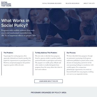 Evidence Based Programs - Social Programs That Work Social Programs That Work